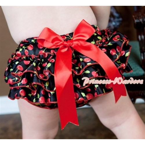 Black Cherry Layer Panties Bloomers with Cute Big Bow BC113