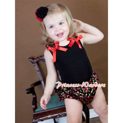 Black Baby Pettitop & Black Cherry Ruffles & Hot Red Bows with Red Bow Black Cherry Satin Bloomer LD214
