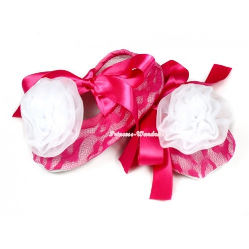 Hot Pink Lace Crib Shoes With Hot Pink Ribbon With White Rosettes S584