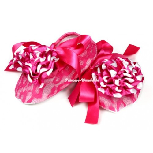 Hot Pink Lace Crib Shoes With Hot Pink Ribbon With Hot Pink White Polka Dots Rosettes S586
