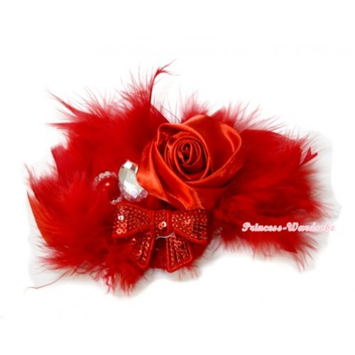 Hot Red Posh Crystal Satin Rose Sparkle Bow Feather Hair Clip H735