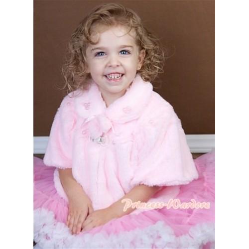 Light Pink Soft Fur with Pearl Bead Shawl Coat SH21