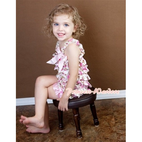 Floral Fusion Layer Chiffon Romper with Light Pink Bow & Straps LR113