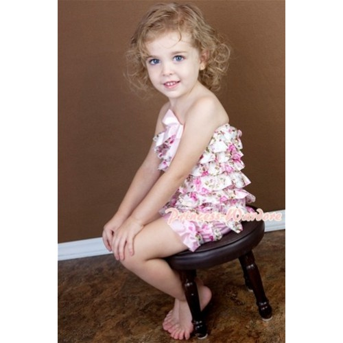 Floral Fusion Layer Chiffon Romper with Light Pink Bow LR97