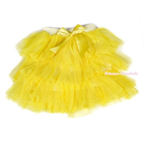 Yellow Chiffon Tiered Layer Skirt Dress B191
