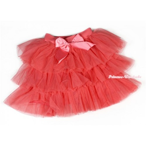 Watermelon Red Chiffon Tiered Layer Skirt Dress B192