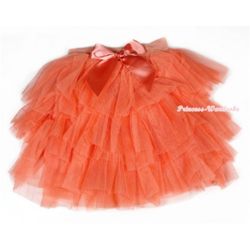 Orange Chiffon Tiered Layer Skirt Dress B194