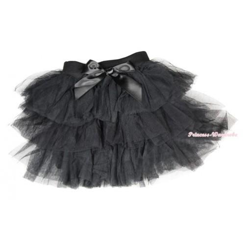 Black Chiffon Tiered Layer Skirt Dress B196