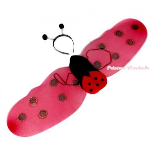 Cute Kids Red Beetle Ladybug Wings and Headband Set Girls Halloween Costume C140