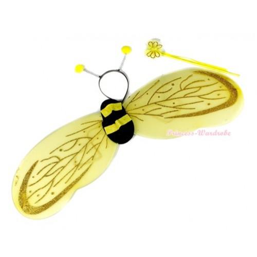 Cute Kids Honey Bee Ladybug Wings and Headband & Fairy Wand Set Girls Halloween Costume C141