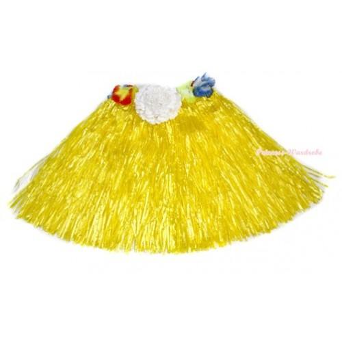 Yellow Hot Hawaiian Tropical Luau Party Dance Flower Grass Pettiskirt With White Peony B181