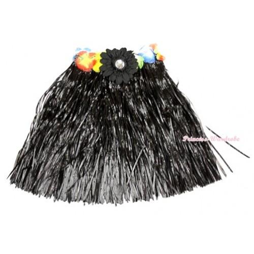 Black Hot Hawaiian Tropical Luau Party Dance Flower Grass Pettiskirt With Black Flower B182