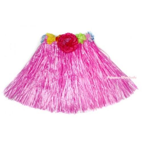 Hot Pink Hot Hawaiian Tropical Luau Party Dance Flower Grass Pettiskirt With Hot Pink Peony B183