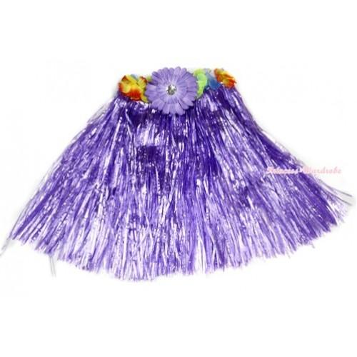 Dark Purple Hot Hawaiian Tropical Luau Party Dance Flower Grass Pettiskirt With Dark Purple Flower B185