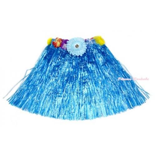 Light Blue Hot Hawaiian Tropical Luau Party Dance Flower Grass Pettiskirt With Light Blue Flower B187