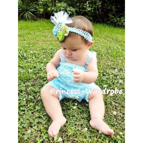Light Blue Lace Ruffles Petti Rompers with Straps LR11