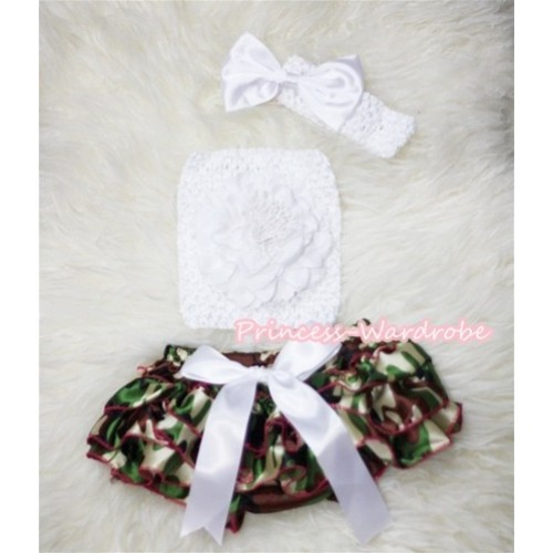 Camouflage Patterns Layer Panties Bloomer with Pure White Peony, Crochet Tube Top and Bow Headband 3PC Set CT263