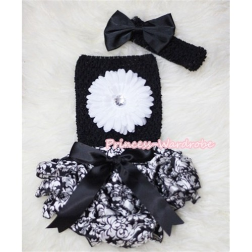 Black Big Bow Damask Layer Panties Bloomer with White Flower Black Crochet Tube Top and Bow Headband 3PC Set CT266