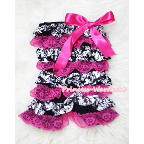 Damask Hot Pink Layer Chiffon Romper with Hot Pink Bow LR98