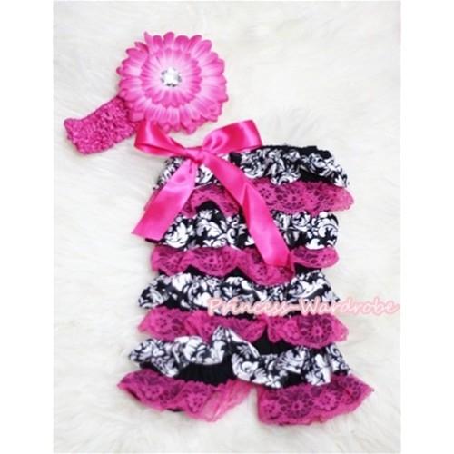 Damask Hot Pink Layer Chiffon Romper with Hot Pink Bow with Headband Set RH58