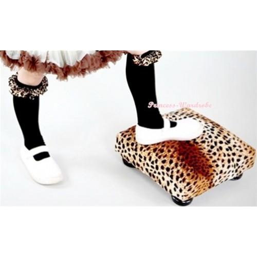 Newborn Baby Black Leg Warmers Leggings With Leopard Ruffles LG242