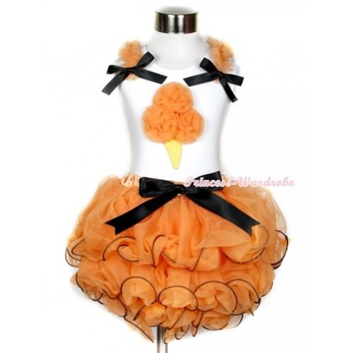 Halloween White Tank Top With Orange Ruffles & Black Bow & Orange Rosettes Ice Cream Print With Black Bow Orange Petal Pettiskirt MG735