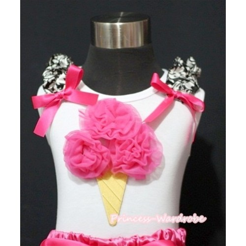 Hot Pink Ice Cream White Tank Top with Damask Ruffles and Hot Pink Ribbon TS362