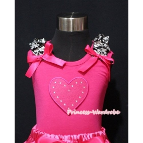 Hot Pink Heart Tank Top with Damask Ruffles Hot Pink Bows TM211