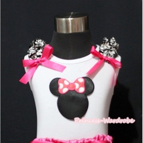 Hot Pink Minnie Print White Tank Top with Damask Ruffles and Hot Pink Bow T373