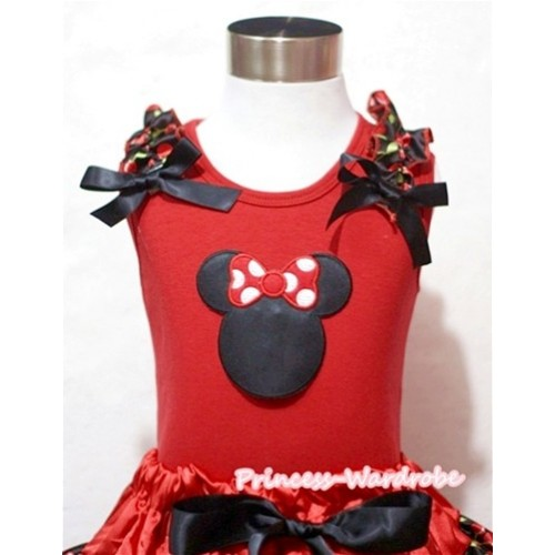 Minnie Print Red Tank Top with Black Cherry Ruffles and Black Bow T392