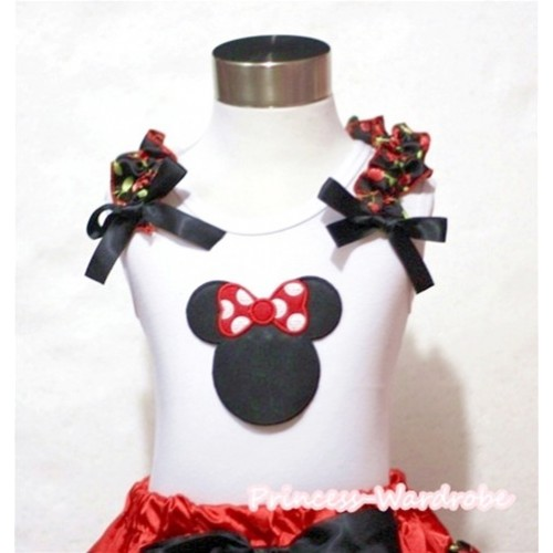 Minnie Print White Tank Top with Black Cherry Ruffles and Black Bow T374