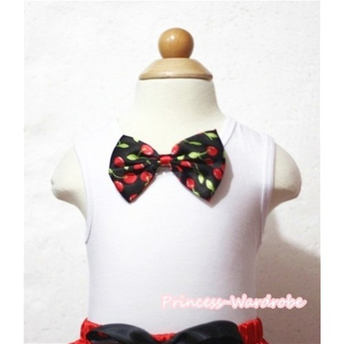 White Tank Tops with Black Cherry Bow TB461