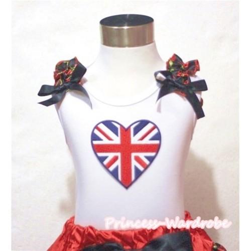 Patriotic British Flag Heart White Tank Top with Black Cherry Ruffles Black Bows TB471