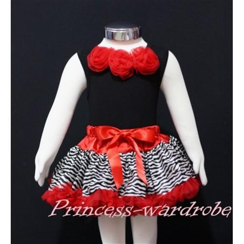 Black Newborn Pettitop & Red Rosettes with Red Zebra Newborn Pettiskirt NG140