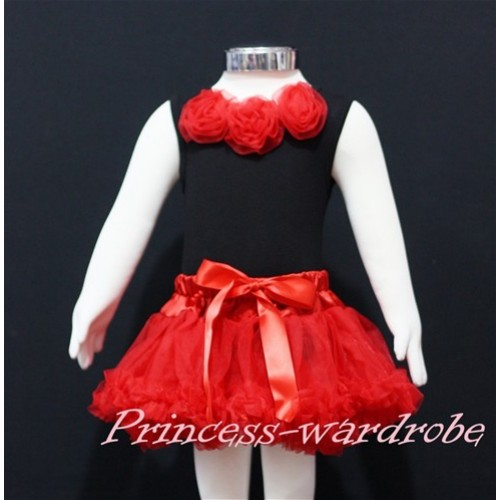 Black Baby Pettitop & Red Rosettes with Red Baby Pettiskirt NG143