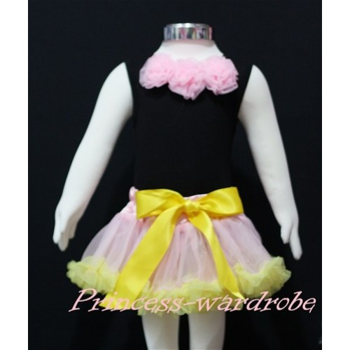 Black Baby Pettitop & Light Pink Rosettes with Light Pink Yellow Baby Pettiskirt NG144