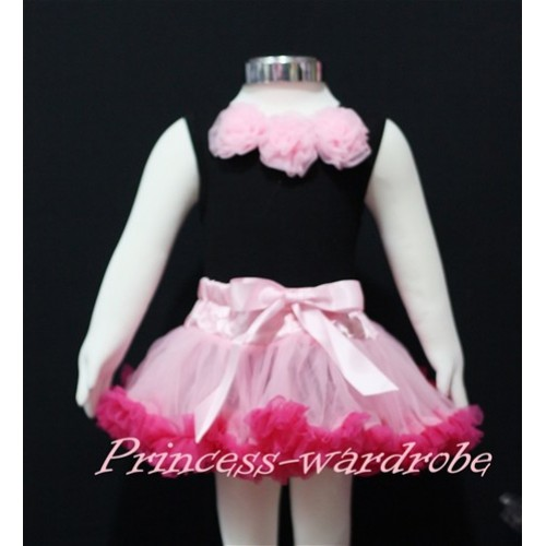 Black Baby Pettitop & Light Pink Rosettes with Light Pink Hot Pink Baby Pettiskirt NG146