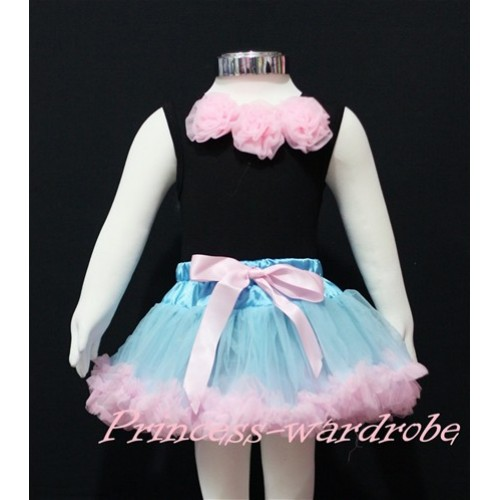 Black Baby Pettitop & Light Pink Rosettes with Light Blue Light Pink Baby Pettiskirt NG147