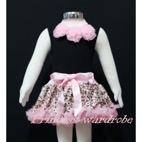Black Baby Pettitop & Light Pink Rosettes with Light Pink Leopard Baby Pettiskirt NG148