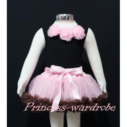 Black Newborn Pettitop & Light Pink Rosettes with Light Pink Brown Newborn Pettiskirt NG150