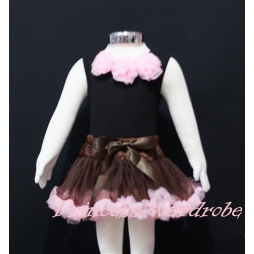 Black Newborn Pettitop & Light Pink Rosettes with Brown Light Pink Newborn Pettiskirt NG151