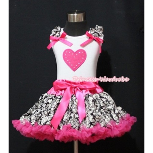 Hot Pink Pettiskirt with Hot Pink Heart Print White Tank Top With Damask Ruffles & Hot Pink Bows MM181