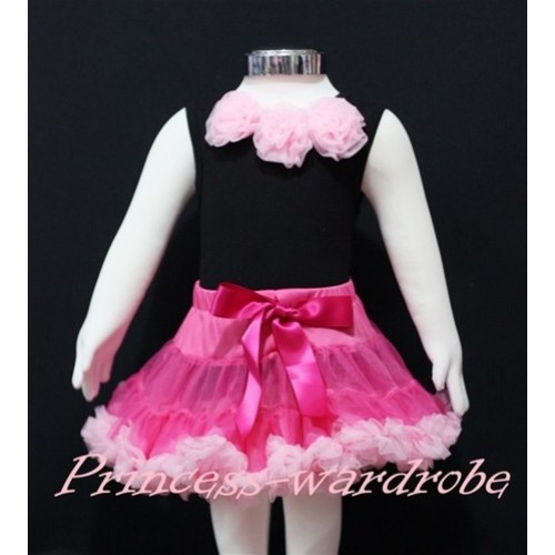 Black Newborn Pettitop & Light Pink Rosettes with Hot Pink Light Pink Newborn Pettiskirt NG153