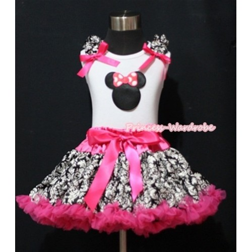 Hot Pink Damask Pettiskirt With Hot Pink Minnie Print White Tank Top with Damask Ruffles and Hot Pink Bow MM191