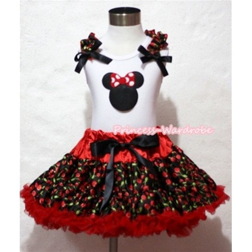 Hot Red Black Cherry Pettiskirt & Minnie Print White Tank Top with Black Cherry Ruffles and Black Bows MM192
