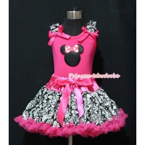 Hot Pink Damask Pettiskirt & Hot Pink Minnie Print Hot Pink Tank Top with Damask Ruffles and Hot Pink Bows MM221