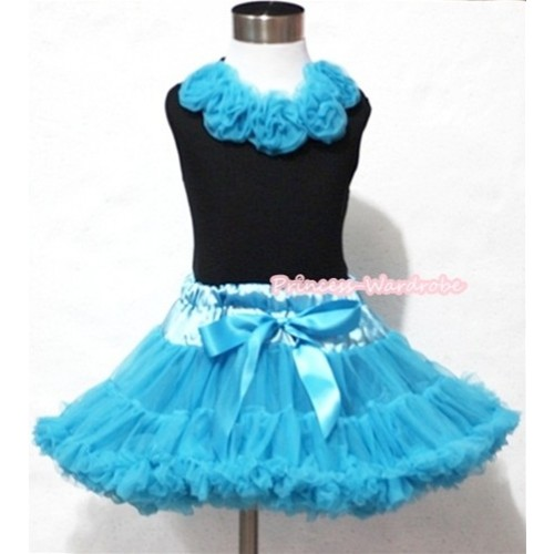 Black Tank Tops with Peacock Blue Rosettes & Peacock Blue Pettiskirt MW071