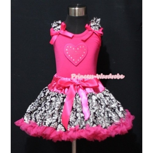 Hot Pink Damask Pettiskirt with Hot Pink Heart & Damask Ruffles Hot Pink Bow Hot Pink Tank Top MM301