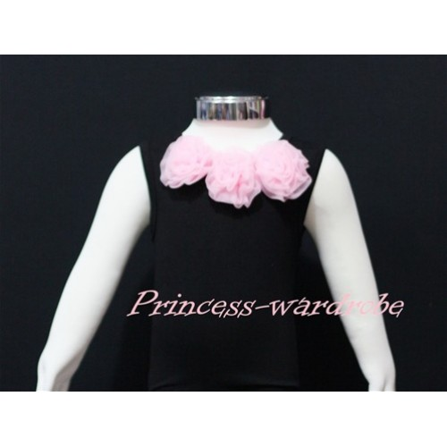 Black Baby Pettitop with Light Pink Rosettes NT12