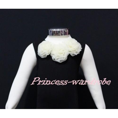 Black Baby Pettitop & Cream White Rosettes NT45
